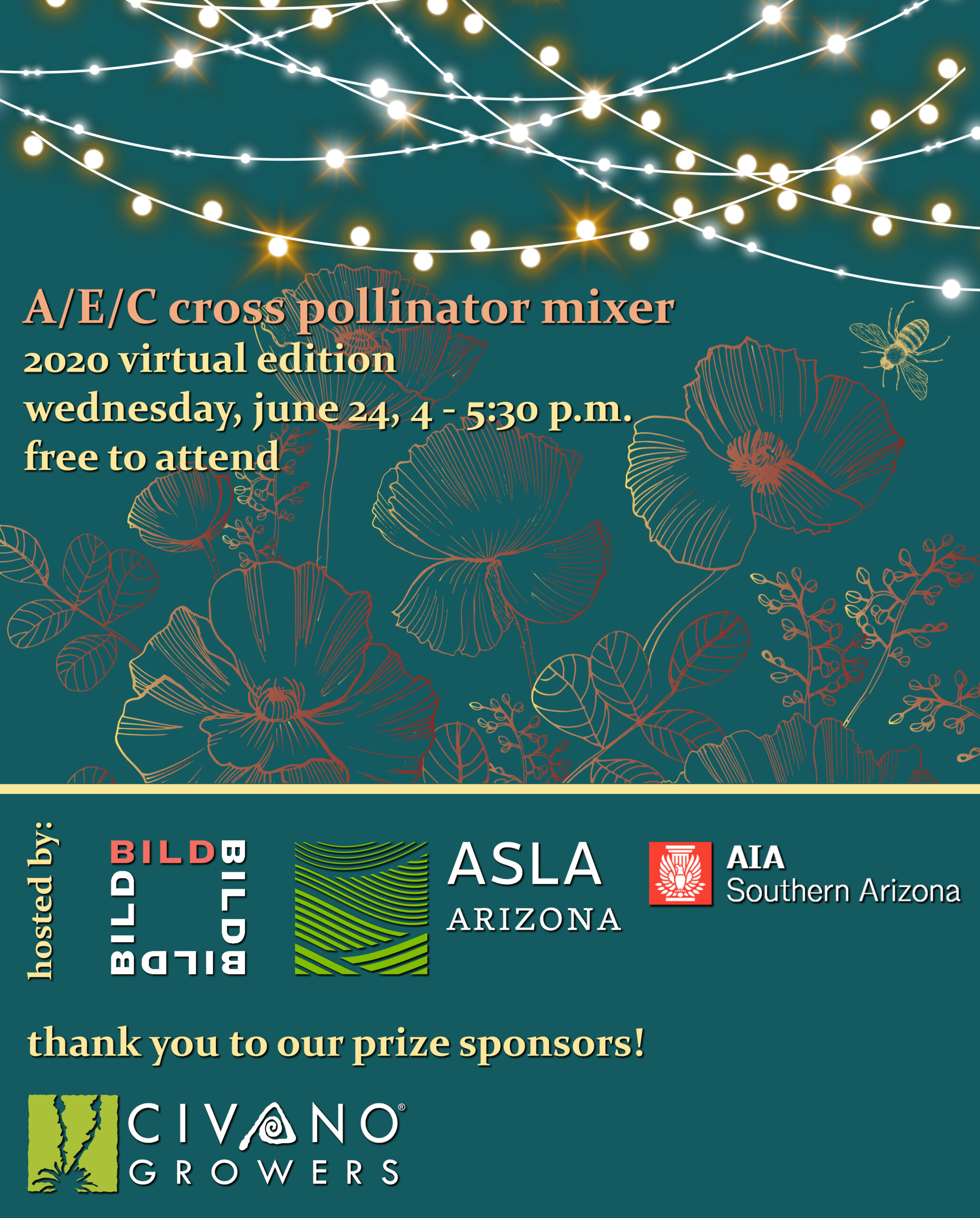 Join AIA, ASLA, BILD, and other AEC industry groups for a virtual mixer to mingle and learn more about what we can do to protect pollinators.